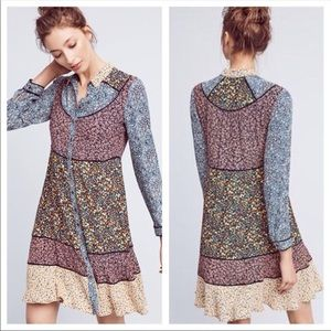 NWT Anthro Maeve Teya Peasant Patchwork Dress Sz 6